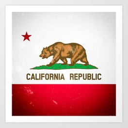 The Old Bear Flag - Californian flag old late Art Print
