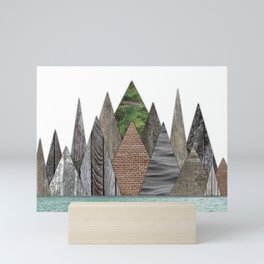 Textured Mountain Range in Minty Waters Mini Art Print