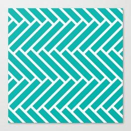 Turquoise and white herringbone pattern Canvas Print