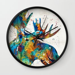 Colorful Moose Art - Confetti - By Sharon Cummings Wall Clock