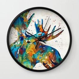 Colorful Moose Art - Confetti - By Sharon Cummings Wall Clock