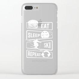 Eat Sleep Ski Repeat - Skiing Winter Holidays Snow Clear iPhone Case