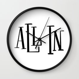All In: white Wall Clock