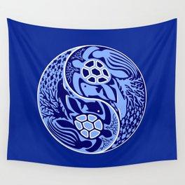 Yin Yang Marine Life Sign Classic Blue Monochrome Wall Tapestry