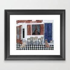 Sidewalk restaurant with blue doors Framed Art Print