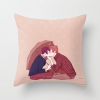 yaoi Throw Pillows featuring kiss under the umbrella by elvishness