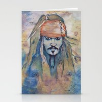 jack sparrow Stationery Cards featuring Jack Sparrow by Nicola Girello