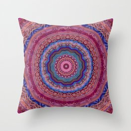 Colorful Agate Mandala Throw Pillow