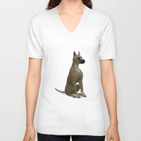 great dane V-neck T-shirts featuring The Great Dane by Texnotropio