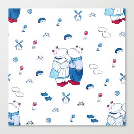 Adorable Dutch hippos in Delft blue style Canvas Print