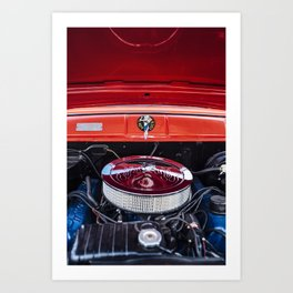 Classic Red Car Motor Art Print