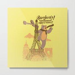 Paris King Kong Bear Eiffel Tower Metal Print
