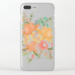 Australian Florals in Green Clear iPhone Case