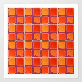 Orange And Purple Retro Abstract Square Pattern Art Print