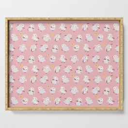 Baby Barn Owls - pink Serving Tray