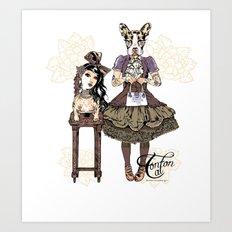 Kawaii and dog Tonton AL 2013 Art Print