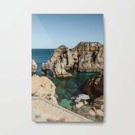 Dreamy cliffs and turquoise sea water, Algarve Metal Print