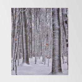 Winter in the Woods Throw Blanket