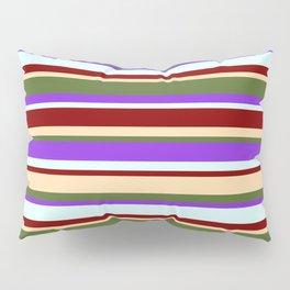 Eye-catching Maroon, Tan, Dark Olive Green, Purple, and Light Cyan Striped Pattern Pillow Sham