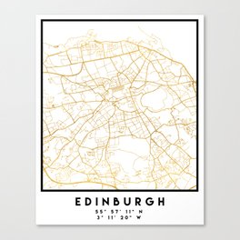 EDINBURGH SCOTLAND CITY STREET MAP ART Canvas Print