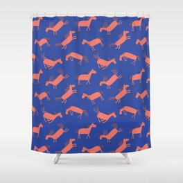 Happy Horses - Royal Blue Shower Curtain