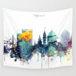 Watercolor Oakland skyline cityscape Wall Tapestry