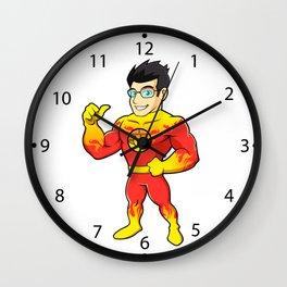 Super hero fireman cartoon Wall Clock
