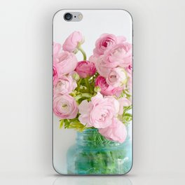 Dreamy Shabby Chic Ranunculus Peonies Roses Print - Spring Summer Garden Flowers Mason Jar iPhone Skin