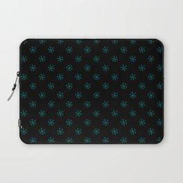 Teal Green on Black Snowflakes Laptop Sleeve