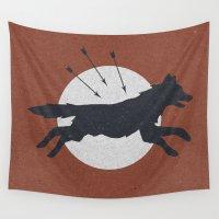 arrow Wall Tapestries featuring Wolf & Arrow by Zeke Tucker