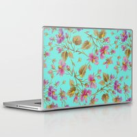 aelwen Laptop & iPad Skins featuring beach roses mint by Ariadne