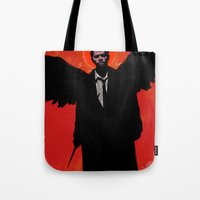 castiel Tote Bags featuring Castiel by Duke Dastardly