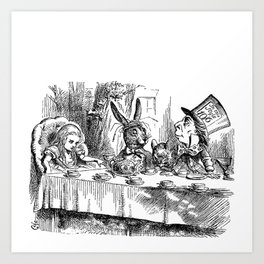 Vintage Alice in Wonderland Mad Hatter & rabbit tea party antique goth emo book gothic drawing print Art Print