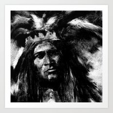 Primal - B&W Portrait of Native American Art Print