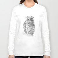 buffy Long Sleeve T-shirts featuring The Buffy Fish Owl by Asya Mitskevich