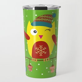 Cute Owl sitting on a branch with christmas baubles, Winter, X-mas Design Travel Mug