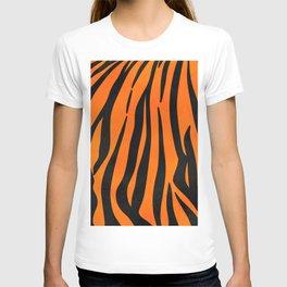 Wild Orange Black Tiger Stripes Animal Print T-shirt