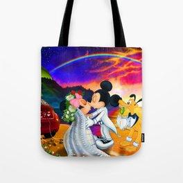 Just Married Mickey & Minnie Wedding Tote Bag