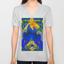 TEAL YELLOW HIBISCUS & BLUE PEACOCKS ART Unisex V-Neck
