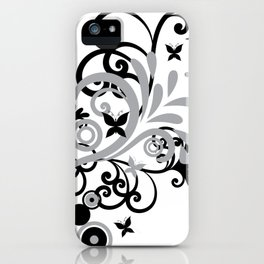 Butterfly Flourish GRY iPhone Case