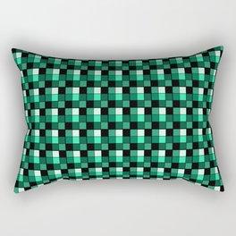 Emerald Ring Blocks, Checkered Pattern - Jade Rectangular Pillow