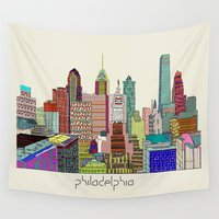 philadelphia Wall Tapestries featuring Philadelphia city sklyine by bri.buckley