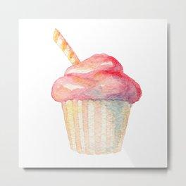 Watercolor Ice Cream Pink Metal Print