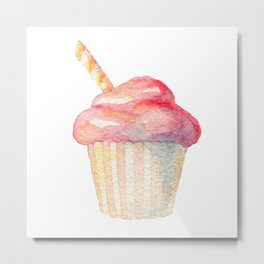 Watercolor Ice Cream Pink Metal Print
