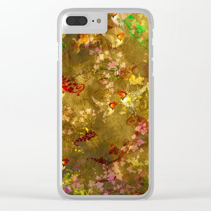 Golden Hummingbirds Pattern Clear iPhone Case