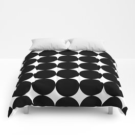 Black circles and white stars Comforters
