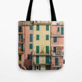 Colorful apartments in Cinque Terre Tote Bag