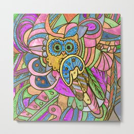 Colorful Pastel Owl Collage Metal Print
