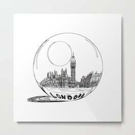 London city in a glass ball . Home Decor, Art prints Metal Print