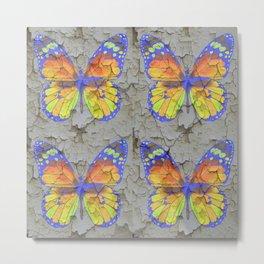 SHABBY CHIC YELLOW & BLUE BUTTERFLIES Metal Print